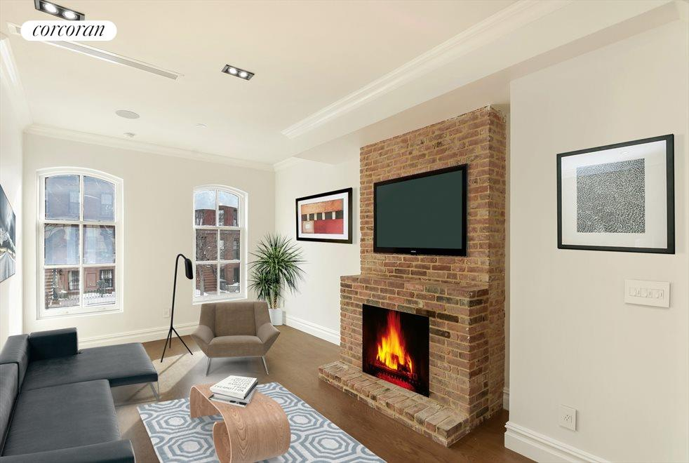 Sun Drenched Living Room with Working Fireplace