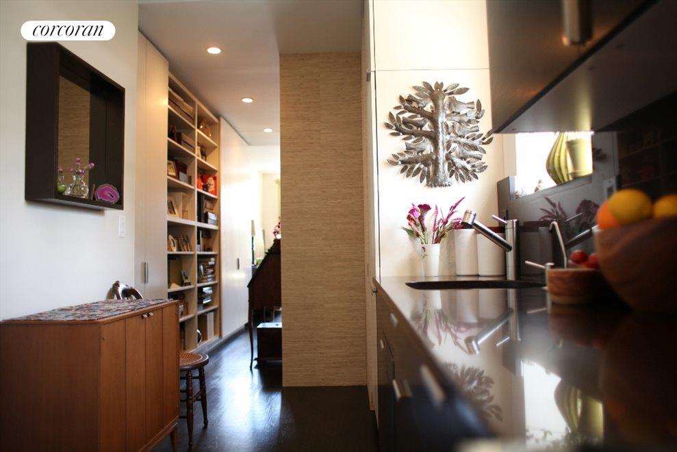 European kitchen looking toward living room