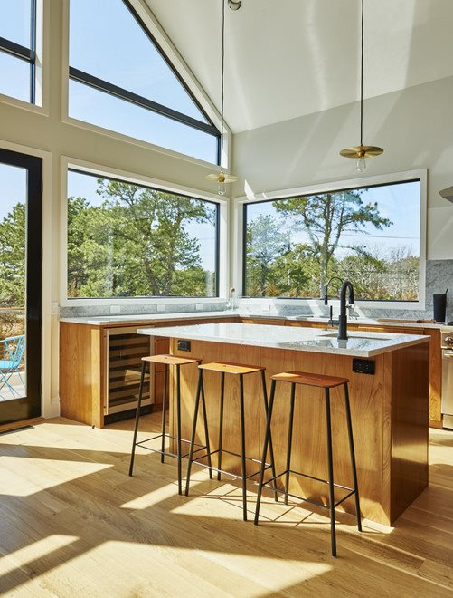 The Hamptons Real Estate | View 216 Cranberry Hole Road | ZUNG EUROPEAN WALNUT KITCHEN
