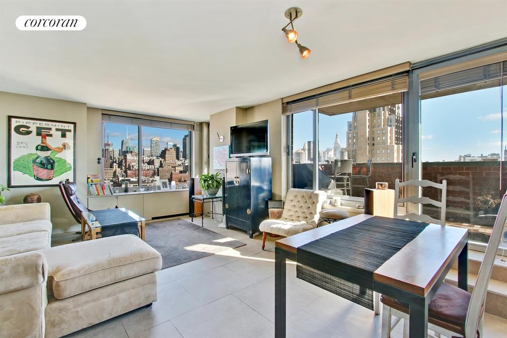 270 West 17th Street, 19B, Sunny Living Room / Dining Room