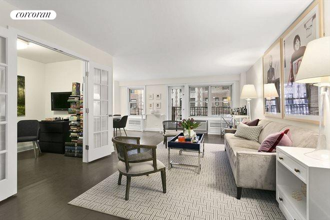 1199 Park Avenue 6FG Living Area Opens Into Home Office