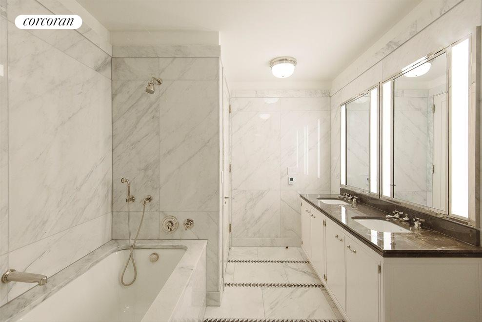 Marble Master Bathroom with stall shower and tub