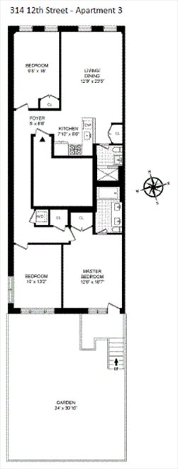 New York City Real Estate | View 314 12th Street, #3 | Floorplan