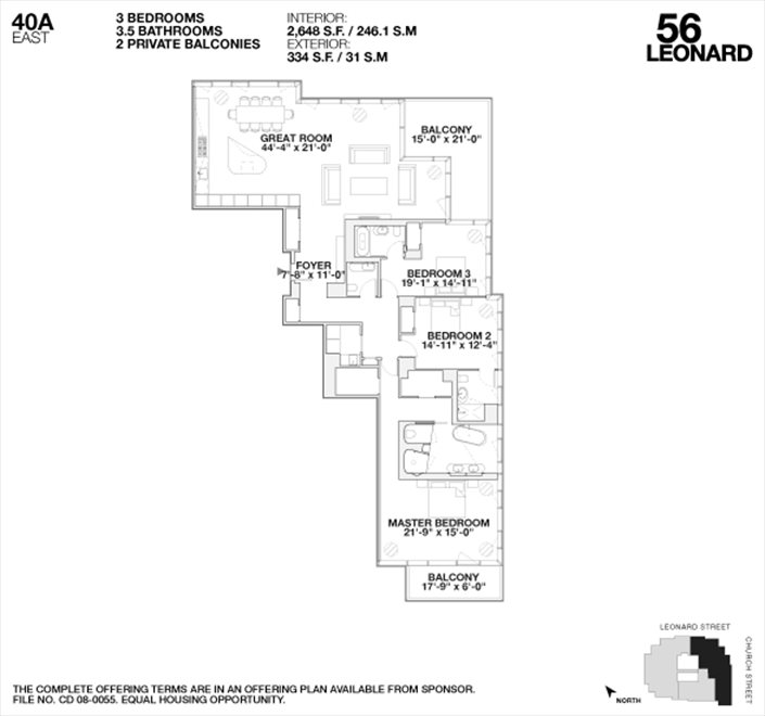 New York City Real Estate | View 56 LEONARD ST, #40A EAST | Floorplan