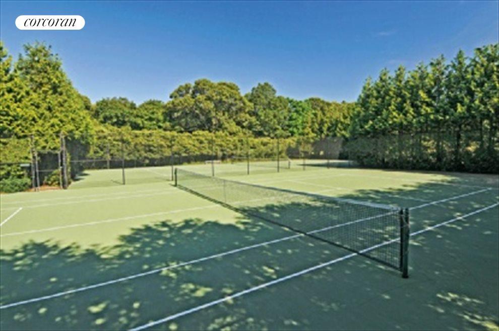 Community tennis courts around the corner