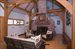 970 Brick Kiln Road, Living area with soaring fireplace