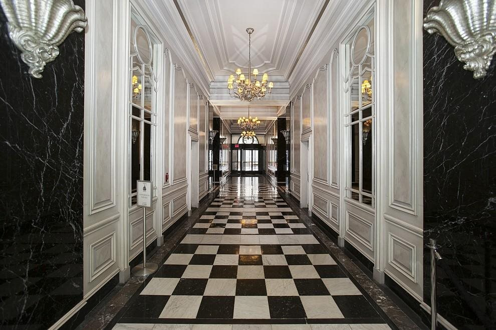 Lobby Hallway with Chandeliers