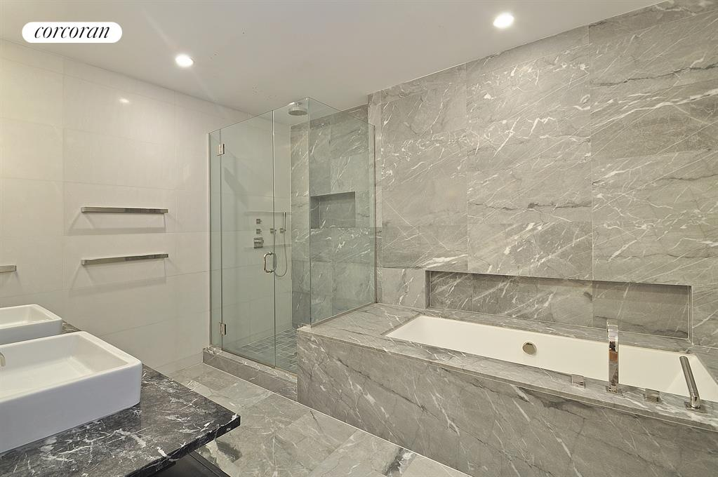 Spa-like Master Bathroom clad in Italian Marble