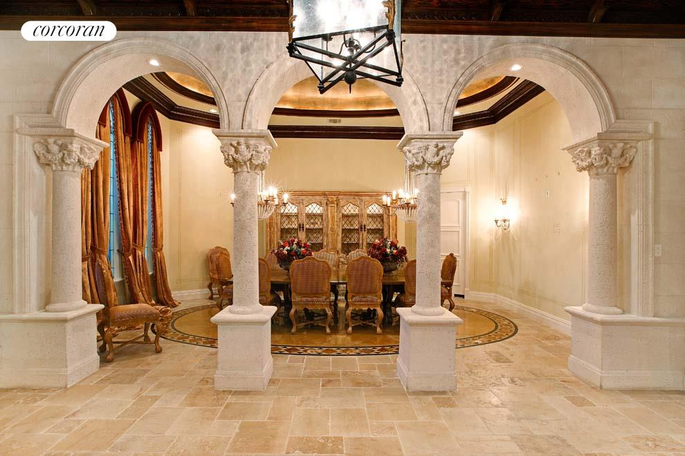 Formal dining room with custom stone work
