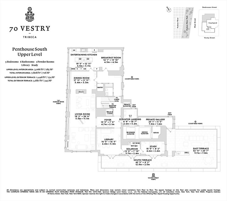 New York City Real Estate | View 70 VESTRY ST, #PHS | Floorplan 1