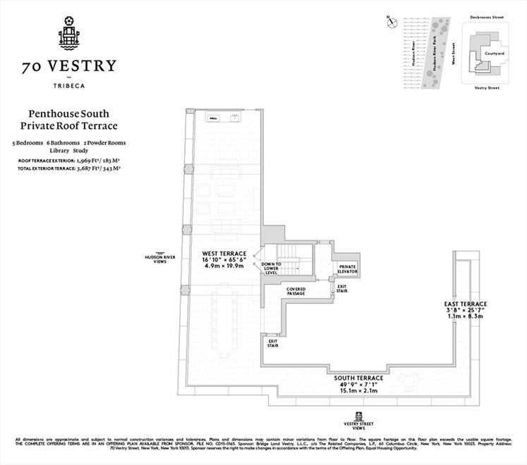 New York City Real Estate | View 70 VESTRY ST, #PHS | Floorplan 3