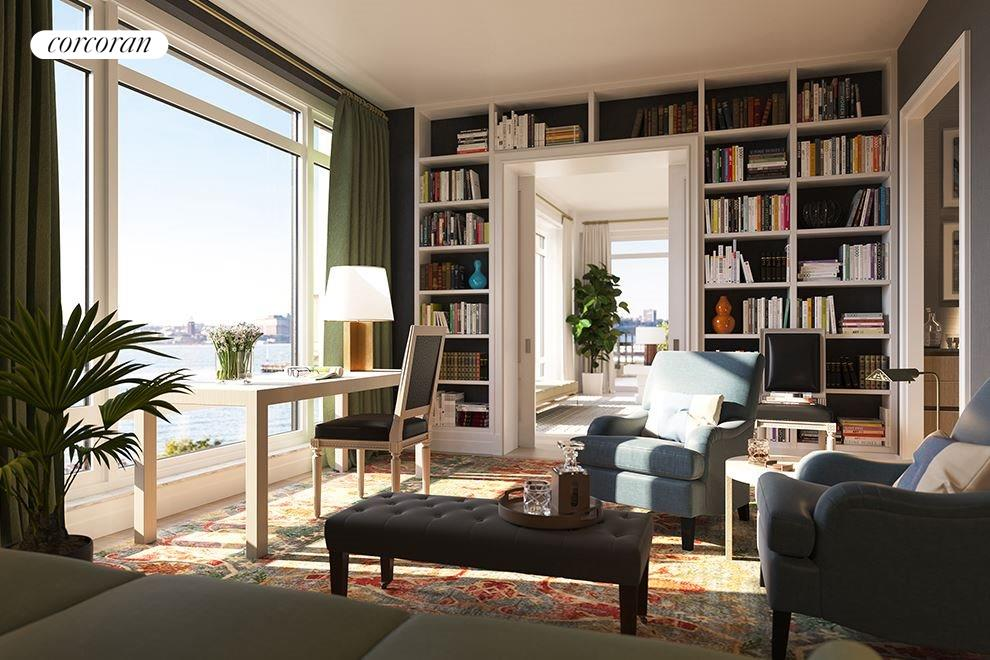 New York City Real Estate | View 70 VESTRY ST, #PHS | Living spaces include library, solarium, and study