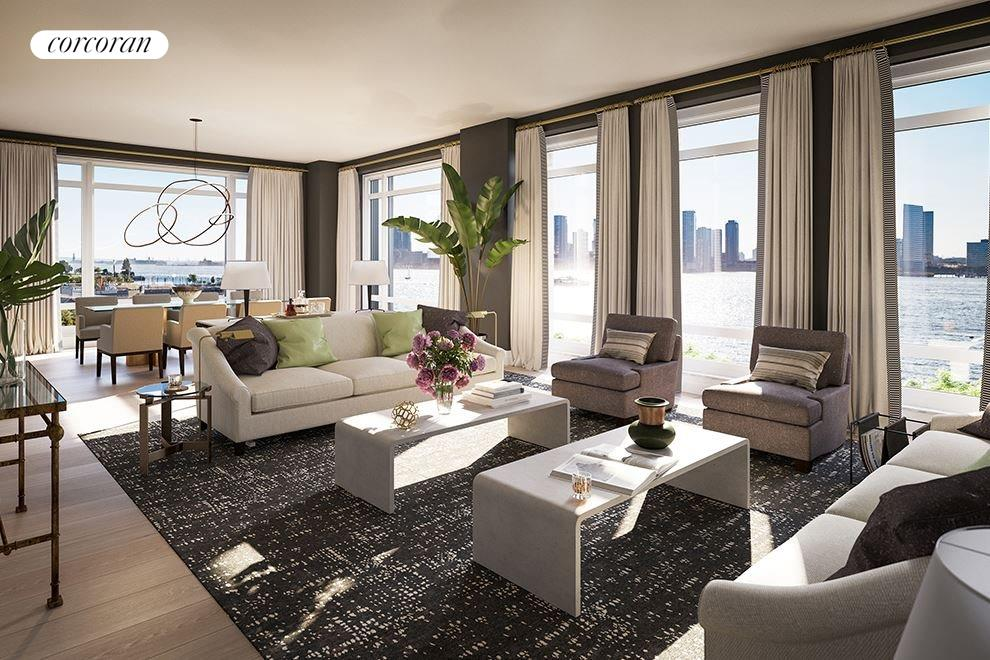 New York City Real Estate | View 70 VESTRY ST, #PHS | 36-foot corner living room with fireplace