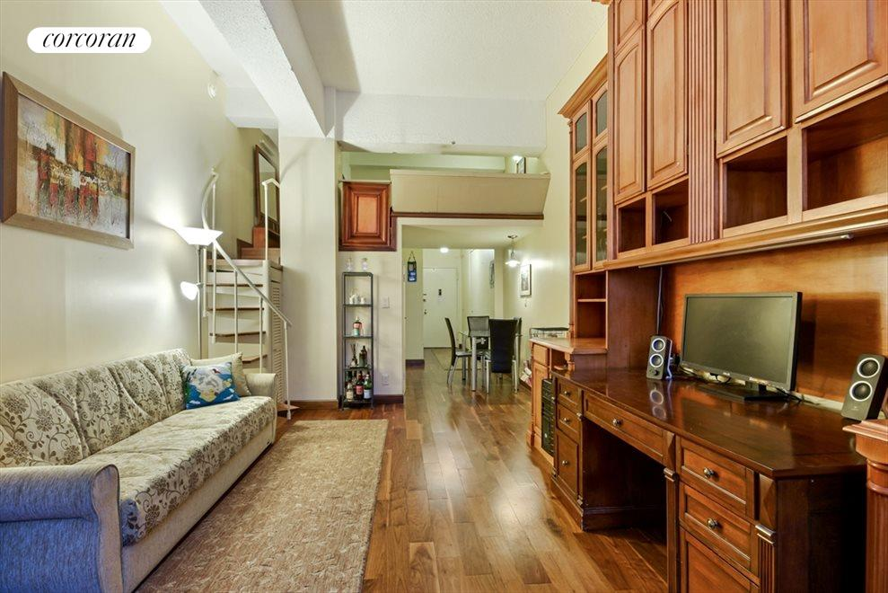 Living Room with built in storage unit