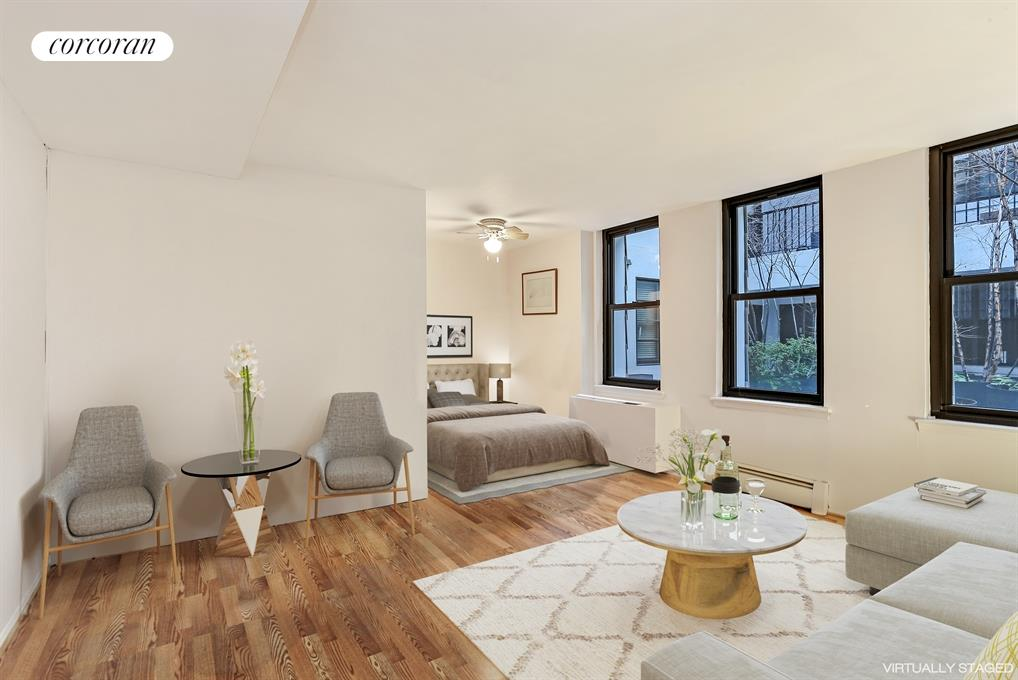 3 HANOVER SQUARE, 21E, Virtually Staged Living Room/Sleeping Alcove