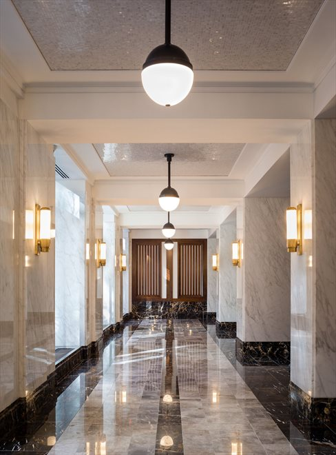 Lobby with marble floors