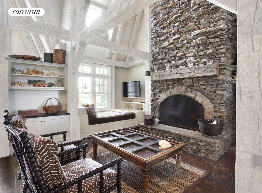 Fireplace & Lounging Area- Virtually Lightened Beams