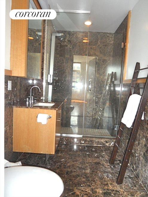 Marble Bath with Glass Shower
