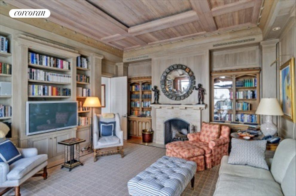 Library With Oceanviews And Fireplace