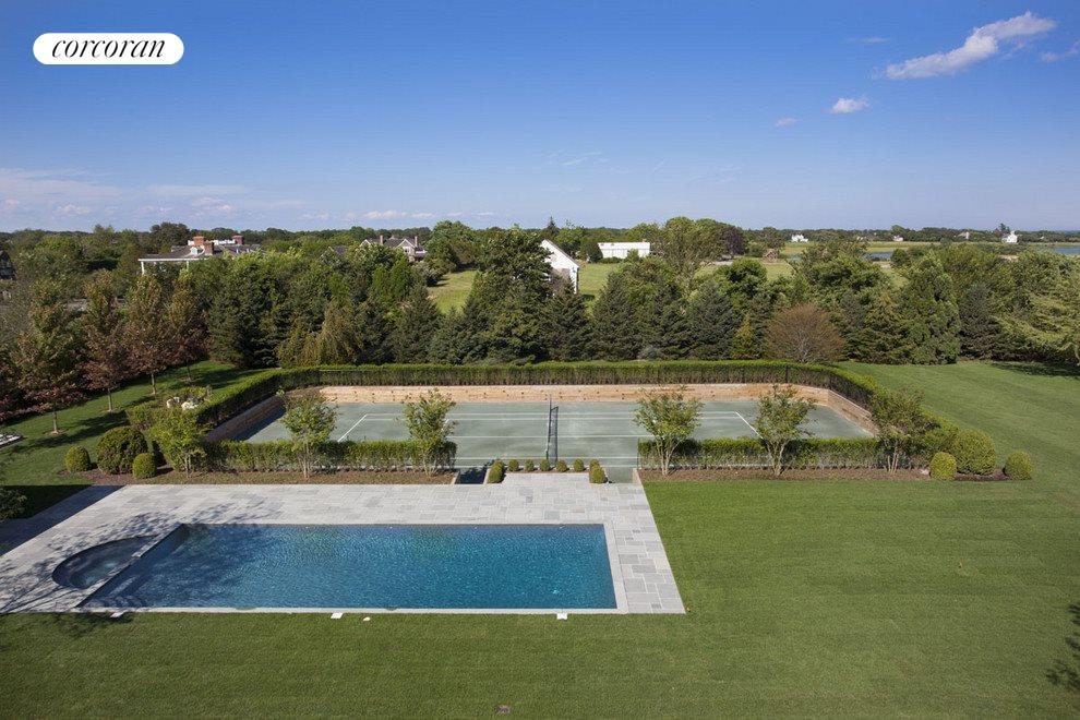 pool, spa and sunken tennis court