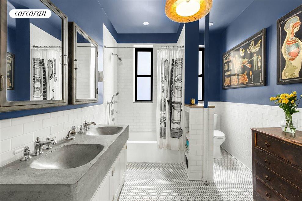 Oversized bathroom with custom double sink