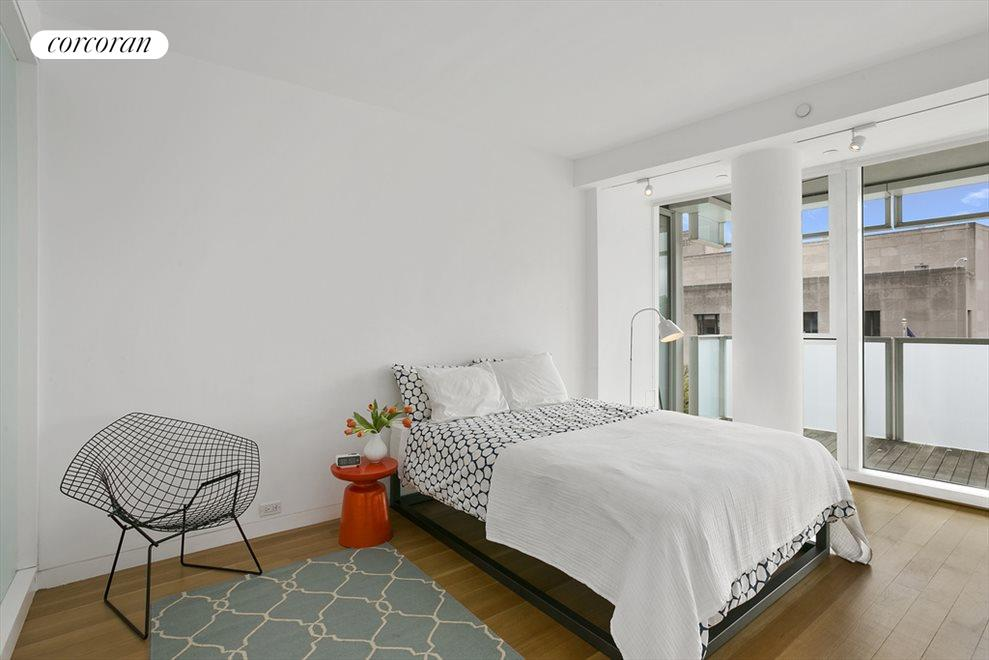 Bedroom with views of the Brooklyn Library