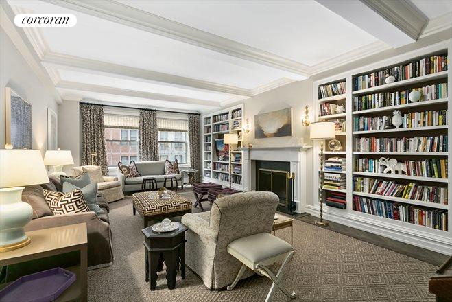 1185 Park Avenue, 3F, Grand scale living room with woodburning fireplace