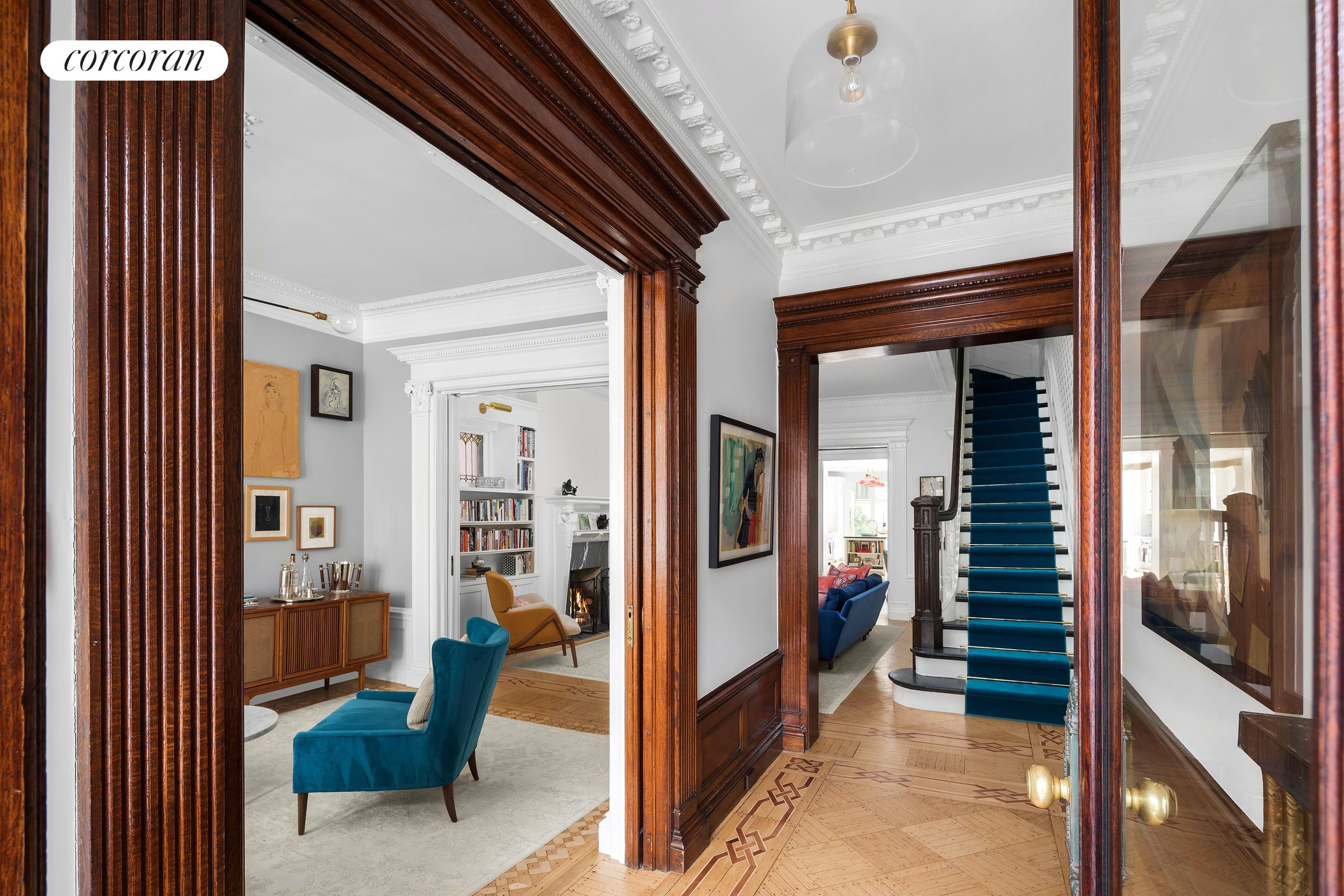 586 4th Street, Front parlor with pier mirror & pocket doors