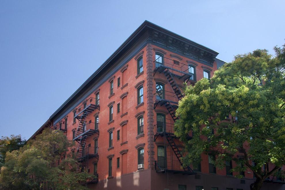 Restored pre-war facade with new windows.