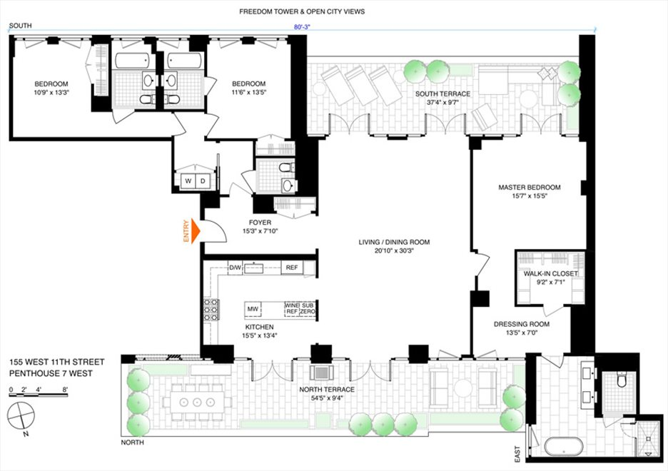 New York City Real Estate | View 155 West 11th Street, #PH7 WEST | Floorplan