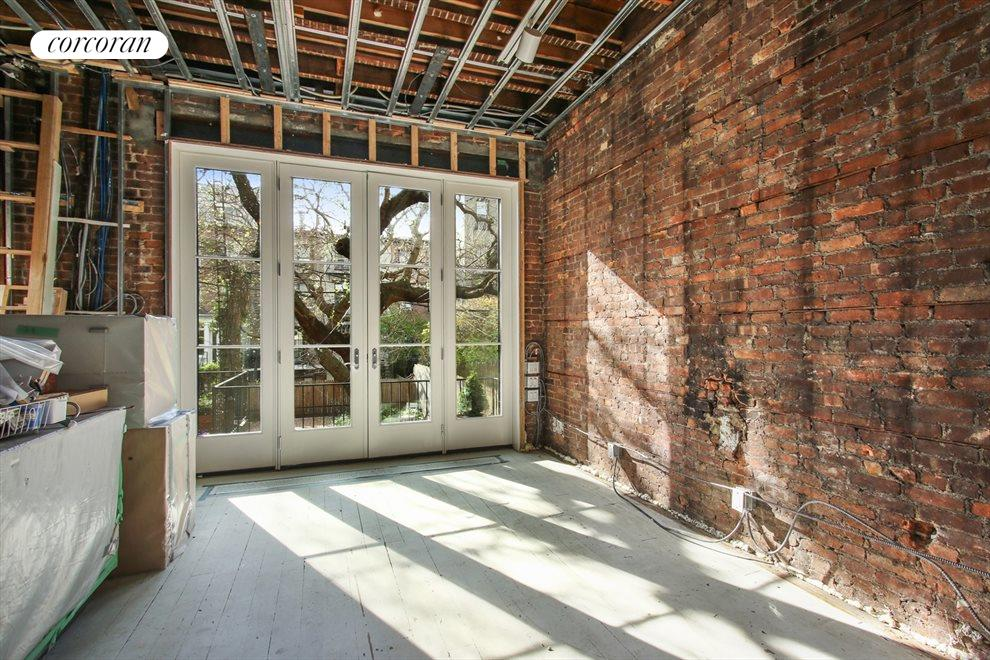 New York City Real Estate | View 22 Strong Place | Rear parlor french doors to deck