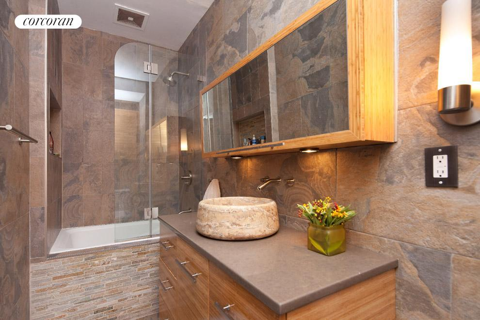 Renovated bath with ample storage