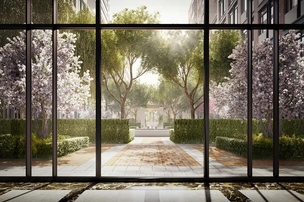 New York City Real Estate | View 160 West 12th Street, #78 | Private garden with reflecting pool and pavilion