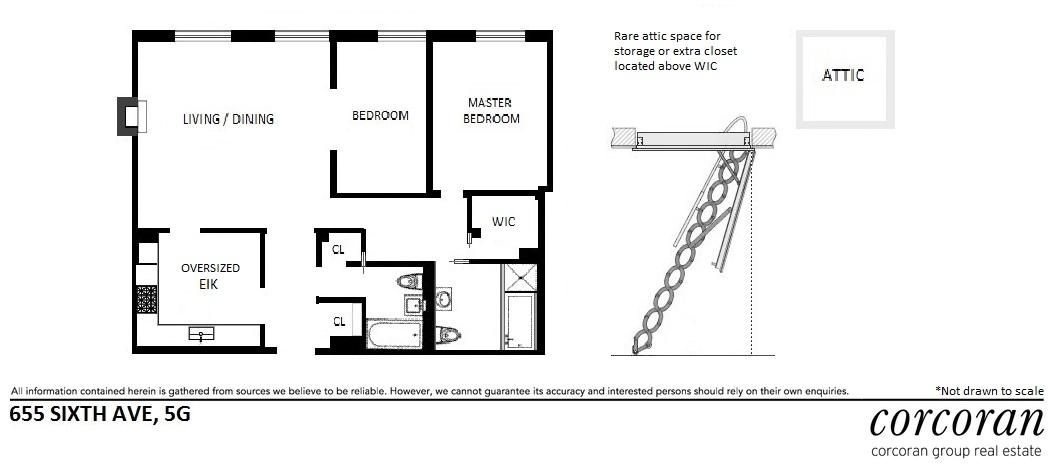 Floor plan of The O'Neill Building, 655 Sixth Avenue, 5G - Flatiron District, New York