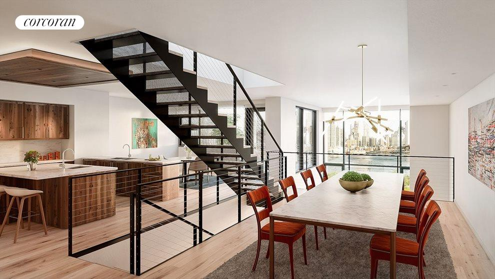 Amazing Kitchen and Dining with Stairs to Roof