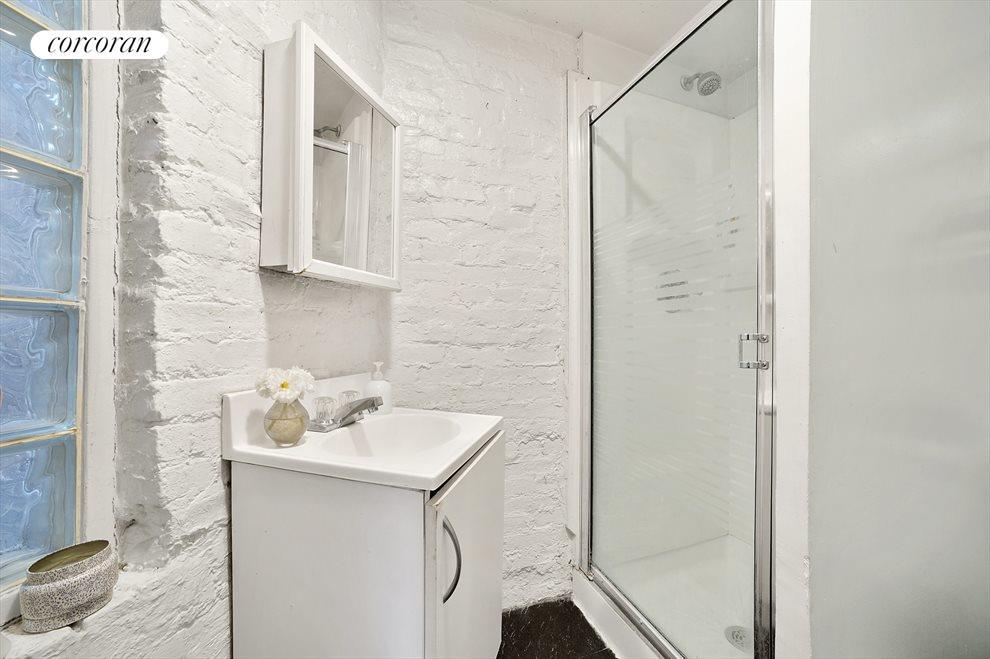Widowed bathroom with shower