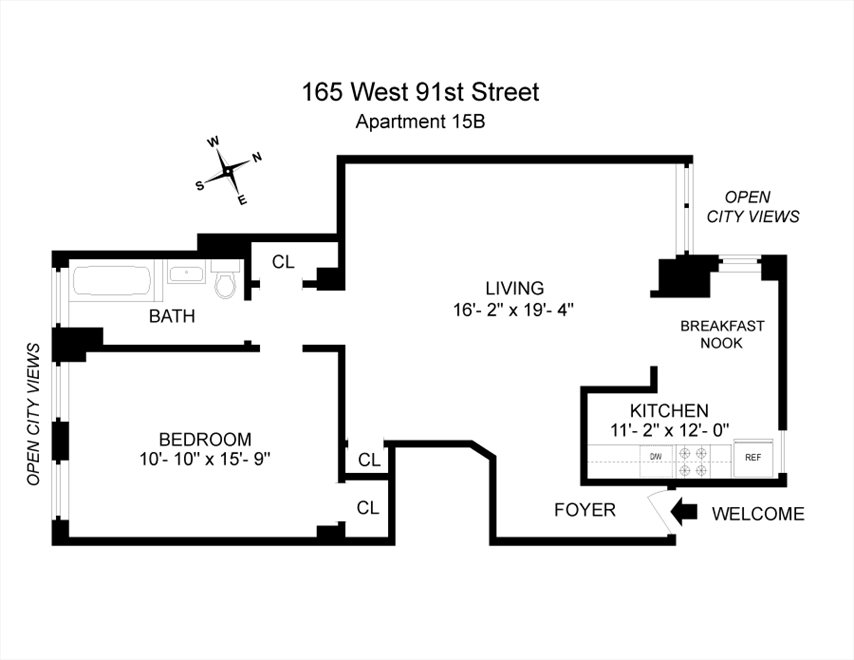 New York City Real Estate | View 165 West 91st Street, #15B | Floorplan