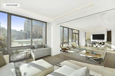 New York City Real Estate | View 225 West 60th Street, 6B | Sunny Living Room and Adjacent Terrace