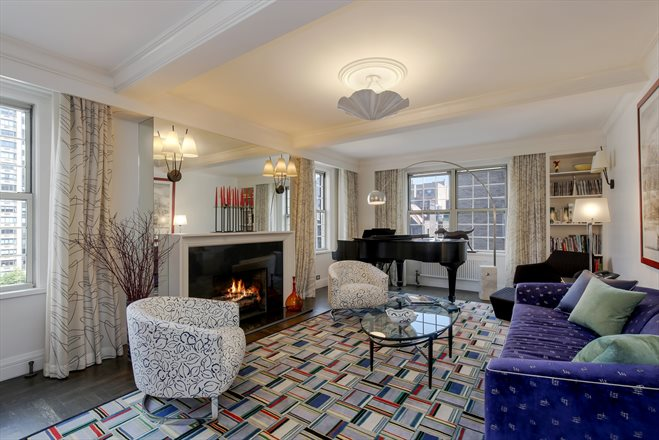 60 Gramercy Park North, 14B, Grand corner living room with fireplace
