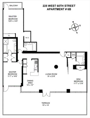 New York City Real Estate | View 225 West 60th Street, 6B | Floorplan