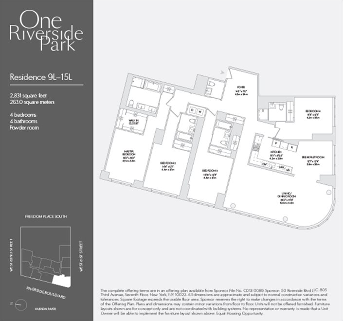 New York City Real Estate | View 50 Riverside Blvd, #14L | Floorplan