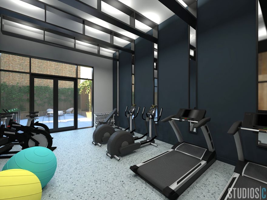 Light-Filled Fitness Center off the Garden