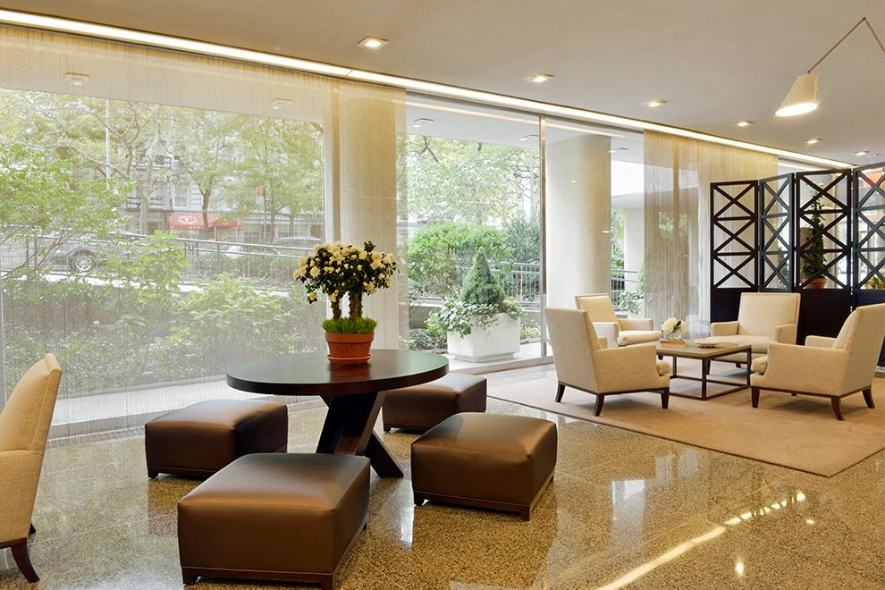 200 East 66th Street, B606, Glass enclosed lobby, designed by Vicente Wolf.
