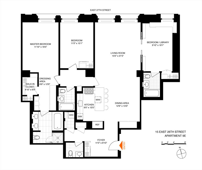 New York City Real Estate | View 15 East 26th Street, #9E | Floorplan