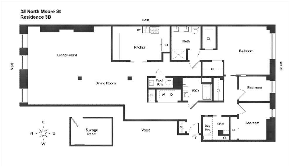 New York City Real Estate | View 35 NORTH MOORE ST, #3B | Floorplan