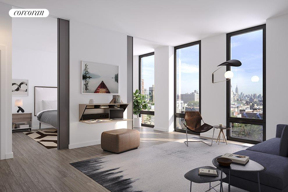Living room with floor to ceiling pocket doors