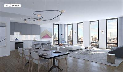 Huge living/dining room with stunning skyline view