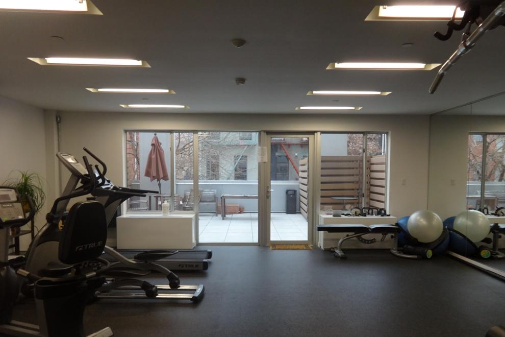 The gym opens up to a common terrace