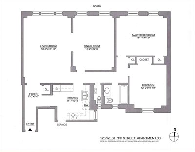 New York City Real Estate | View 123 West 74th Street, #8D | Floorplan