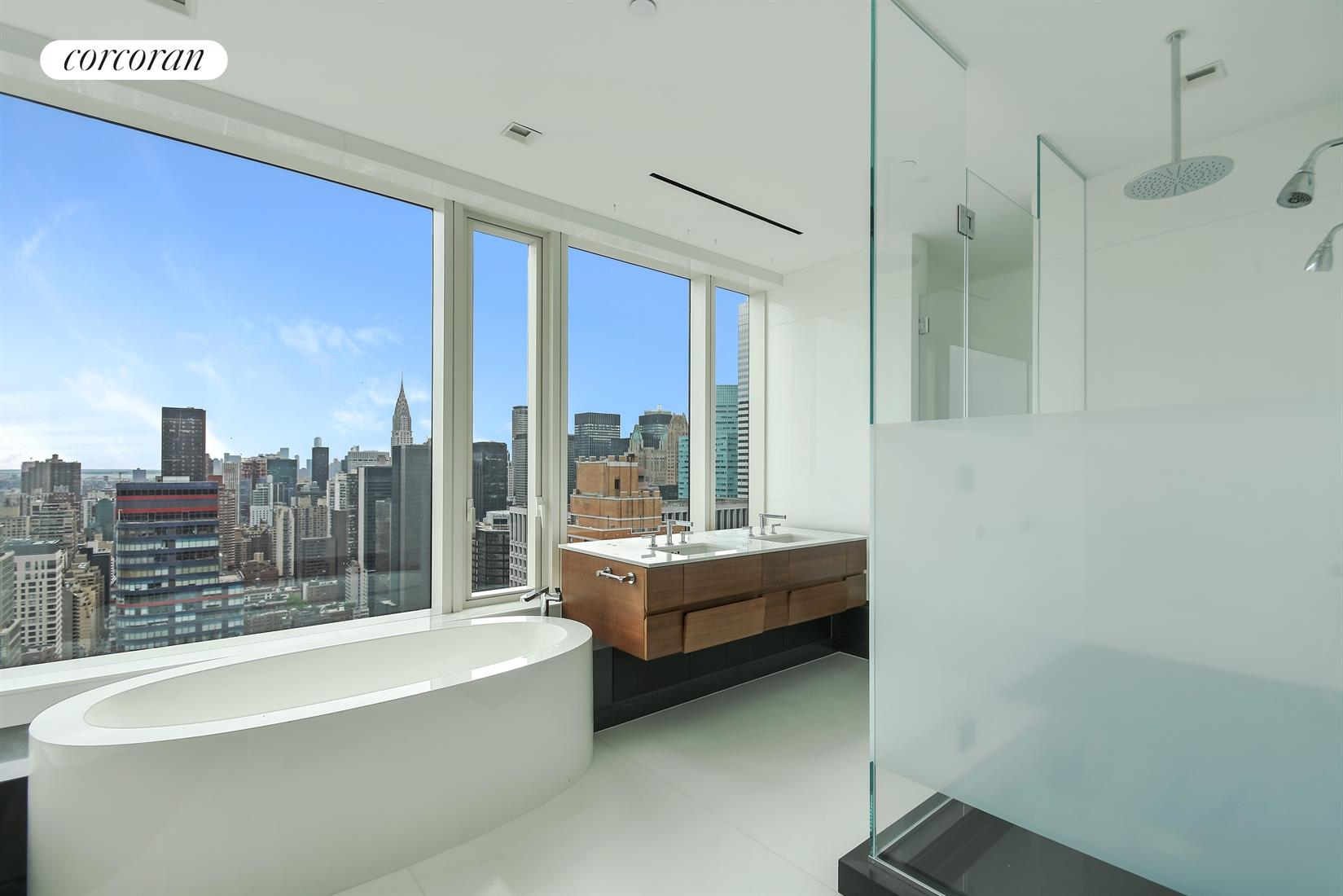252 East 57th Street, 51C, Living Room With Southeast Exposures U0026 Balcony